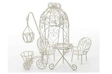 FAIRY GARDEN Miniature ~ White Wire Garden Furniture Set #1 ~ Mini Dollhouse