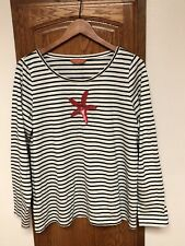 Relax Tommy Bahama Stripe Women's Size XL Long Sleeve Top With Sequins Appliqué