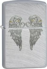 Zippo 2016 Catalog NEW Angel Wings Chrome Arch Auto Engrave Lighter 29069