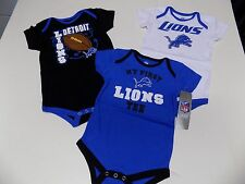 DETROIT LIONS INFANT CREEPERS SET OF 3  SZ 18 MONTHS NWT