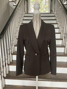 Tahari ASL Women's Size 10P Career Blazer One Button Brown Jacket EUC
