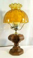 Vintage Hurricane Lamp with Chimney Ceramic Hand Painted Wood Finish  EUC