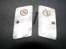 Colt 1908 .25 Auto Hammerless Vest Pocket White Pearl SMOOTH Grips w/Medallions