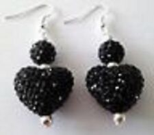 SHAMBALLA BLACK LARGE HEART DROP EARRINGS WITH 22mm AUSTRIAN CRYSTAL DISCO BEAD