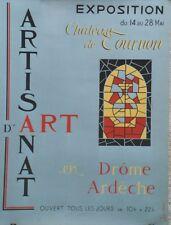 """""""EXPO ARTISANAT d'ART TOURNON 1961""""Maquette gouache s/papier entoilée J. CORDIER"""
