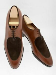 MEN NEW HANDMADE SUEDE LEATHER SHOES WINGTIP TWO TONE BROWN FORMAL SHOES