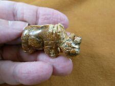 (Y-Rhi-577) tan Jasper Rhino rhinoceros gemstone Figurine carving I love rhinos