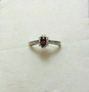 Stainless Steel ring, Mozambique Garnet gemstone, Austrian Crystals, choose size