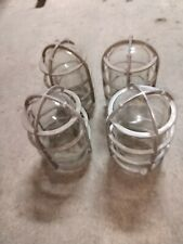 4 Reclaimed Vintage Crouse Hinds Explosion Proof Aluminum Cage V-75 Glass Globes