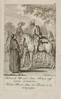 HENNE; CHODOWIECKI, Heinrich VIII. mit Anna Boleyn zu Pferd, 18. Jh., Rad