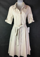 Calvin klein Plaid Beige/White Button Shirt Dress Women's Sz 10 MSRP $119.00 NEW