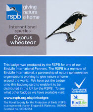 RSPB Pin Badge | Cyprus Wheatear | International Species on GNaH card [00892]