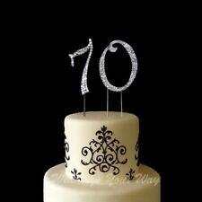 70th Birthday Rhinestone Diamante Cake Topper Number 7cm Silver Crystal Bling