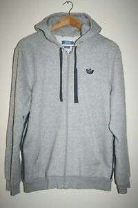 Adidas Men's Unisex Grey Cotton Rich Full Zip Hooded Sweat Jumper Hoodie Size L