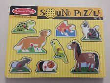 NEW Melissa & Doug Pets Animals Sound Puzzle Dog Cat Horse Bird Fish Frog NIP