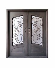 "Stunning, hand-crafted, 12-gauge wrought iron entry doors 72"" x 96"""