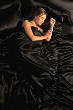 SINGLE BED SATIN 4 PC DUVET COVER FITTED SHEET FOUR PILLOWCASES BLACK EBONY
