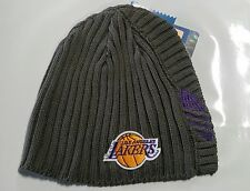 LA Lakers Knit Beanie Toque Skull Cap Winter Hat NEW NBA - ADIDAS - Grey Gray