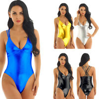 Women's Leather One Piece Bodysuit Jumpsuit Leotard Swimwear Lingerie Clubwear