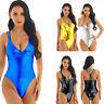 Women One-piece Metallic Shiny Swimwear High Cut Monokini Swimsuit Bikini Bathin
