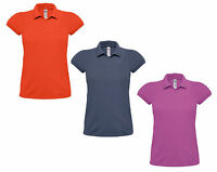 LADIES POLO SHIRT PIQUE TOP BUTTON FASTEN UK 8-18 HEAVY MILL BRAND NEW