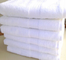 BUNDLE OF 12 WHITE BATH TOWELS - NO MONOGRAM - 100% COTTON/GRANDEUR HOSPTITALITY