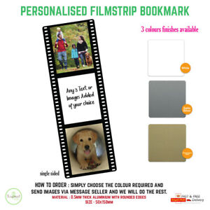 Personalised Photo Bookmark Filmstrip Metal Gift Literary Books 150x50mm
