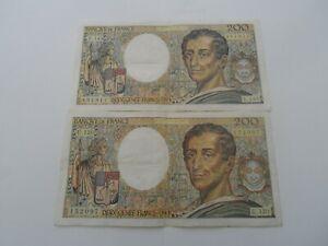 lot de 2 billets 200 francs montesquieu 1992 u.120/u.143