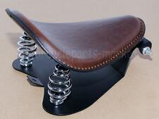 Brown Leather SOLO Seat Pan Frame Cover Barrel Spring For Harley Bobber Custom