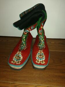 Authentic Tibetan Boots handmade wool embroidered  approx Size 5