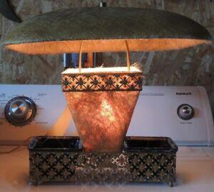 "Table Lamp 16"" Mid Century Modern metal porcelain w Fiberglass Shades Diffuser"