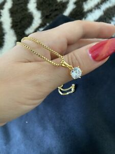 18K 18CT Real Gold Filled 45cm Box Chain Necklace With Swarovski Crystal Pendant
