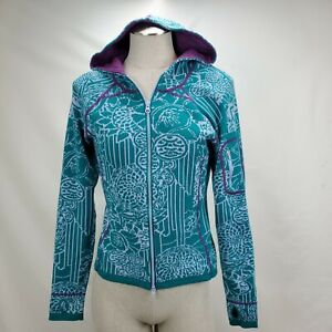 Title Nine Womens Hoodie Cardigan Sweater Size Small Green Floral Hood Full Zip