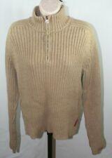 Abercrombie Sz M Heavy Knit Sweater Khaki Tan 1/4 Zip Mock Turtle Neck