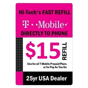 $15 T-MOBILE PREPAID FAST DIRECT ONLINE REFILL > 25yr USA TRUSTED DEALER <