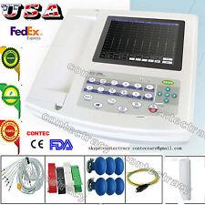 Digital 12 Channel 12 lead ECG/EKG machine+Touch Electrocardiograph,SW US seller