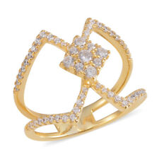 White CZ Studded Openwork RING in 14K Yellow Gold / Sterling Silver 2.52 Cts. #7