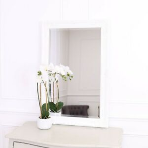 "Rhone Large Rectangle Wall Mirror - Living Room Mirror - 60x90cm 34""x36""- White"