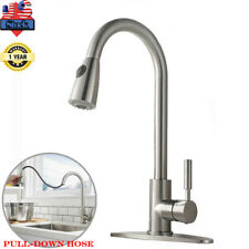 Brushed Nickel Kitchen Sink Faucet Pull Down Sprayer with 10inch Cover Mixer Tap