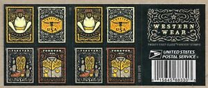 WESTERN WEAR LEATHER BOOTS HAT SCOTT #5615-5618 US FOREVER 20 MXF STAMP BOOKLET