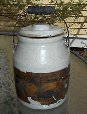 antique Heinz Apple Butter pottery crock with graphic paper lebel