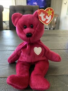 Valentina Bear Retired Ty Beanie Babies With Hologram Tag DOB February 14, 1998