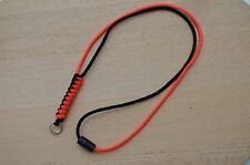 Paracord Neck Lanyard/ Keyring for ID/ Keys, Map & Compass (Black & Orange)