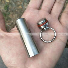 Waterproof Stainless Steel Pill Bottle Cache Drug Holder Container Keychain
