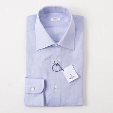 NWT $350 BARBA NAPOLI Sky Blue Diamond Jacquard Cotton Dress Shirt 18 x 37
