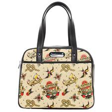 Sourpuss Tattoo Flash Bowler Handbag Pin Up Pin Up Rockabilly Retro Purse Bag