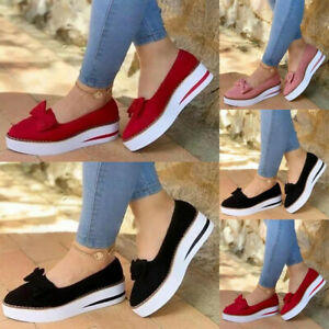 Ladies Women Bow Flat Slip On Pumps Shoes Casual Loafers Trainers Plimsolls Size