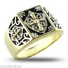 No Stone Two Tone Vermeil 925 Silver Knights Templar Crest Men Ring Size 13