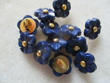 10 PCS 11MM NAVY BLUE FLOWER RESIN SHANK BUTTONS - BABY WEDDING CRAFT SEWING