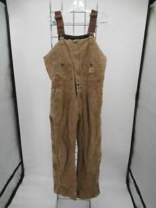 I9149 VTG Carhartt Women Quilt Lined Overalls Bib Size 6X30